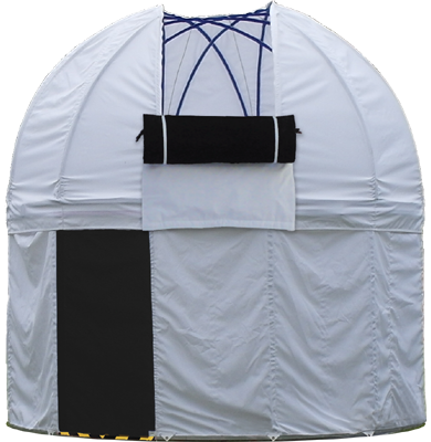 hobby observatory Caph, home garden folding astronomical observatory with rotating dome made from weather resistant mono-ply fabric and aluminium skeleton